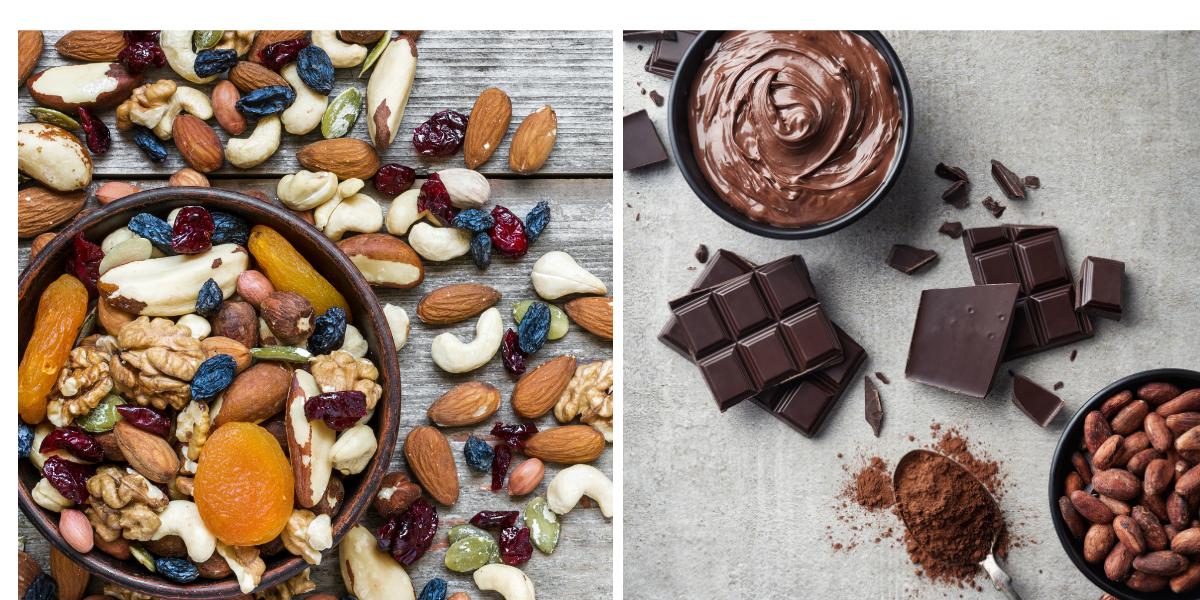 Encas minceur pour garder la ligne chocolat fruit sec